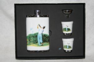 Golfer Hip Flask Fathers Day Birthday Gift